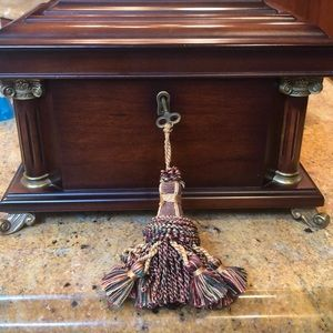 Other - Mahogany jewelry box with keys and tassel